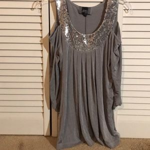 Gray Sequence off the shoulder  Blouse